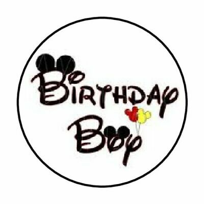 """48 Mickey Mouse Birthday Boy Envelope Seals Labels Stickers 1.2"""" Round"""
