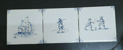 Three Blue and White Tiles Unused Good Condition
