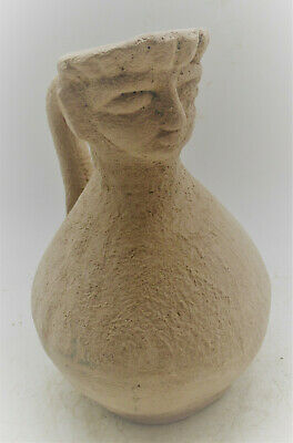 Scarce Circa 1500Bce Ancient Mycenaean Terracotta Vessel With Male Face