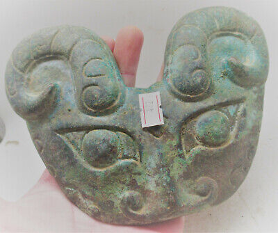 Very Interesting Ancient Near Eastern Bronze Facemask Ram Head Form
