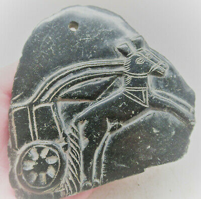 Ancient Sasanian Black Stone Pendant Depiction Of A Chariot And Horses Rare