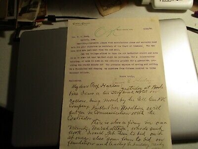 1899 Cornell College letter about moving Methodist Church in MV