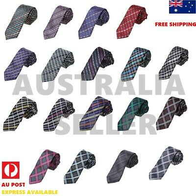 Skinny NeckTie Set For Mens Plaids Formal Slim Neck Tie Set Dan Smith DAE7C04