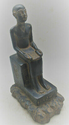 Circa 600-300Bce Ancient Egyptian Black Glazed Statue Of Seated Ahkenaton