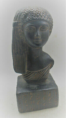 Scarce Ancient Egyptian Black Glazed Stone Statue Bust Of Nefertiri