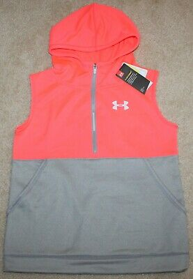 New! Girls Under Armour Fleece Vest (Pullover, Hood; Pink/Gray) - XLarge 16