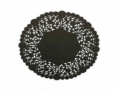 "Pack of 50 Black Paper Lace 6"" Doilies - Made in Canada - Disposable Table Decor"