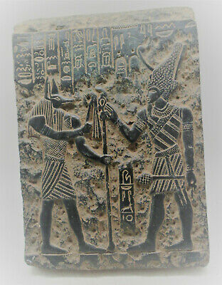 Scarce Circa 600-300Bce Ancient Egyptian Black Stone Relief Panel Superb