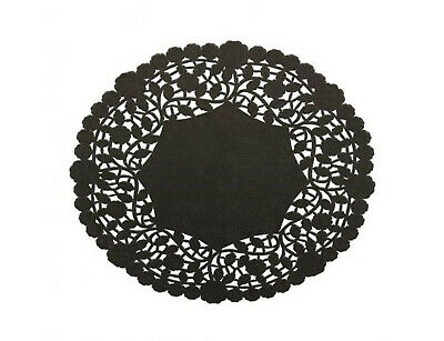 "Pack of 50 Black Paper Lace 8"" Doilies - Made in Canada - Disposable Table Decor"