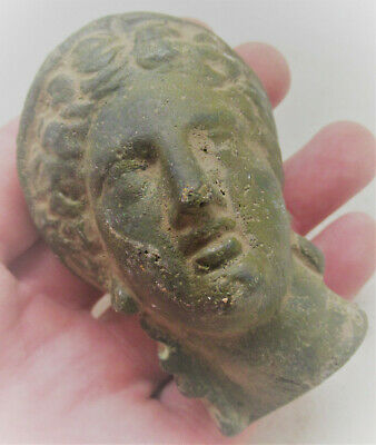 Circa 200-300Ad Ancient Roman Bronze Statue Fragment Head Of Diana European