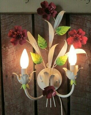 Vintage Italian White Tole Toleware Metal Flower Wall Sconce Lights Lamp