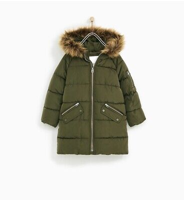 Zara Puffer Coat With Faux Fur Hood Age 5