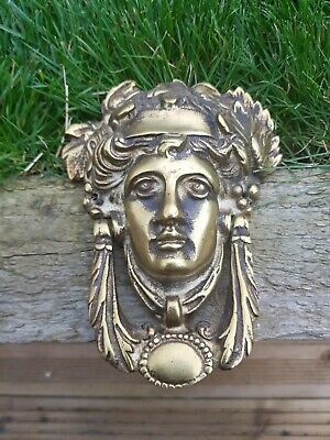 Vintage Solid Brass Door Knocker Greek Goddess Head