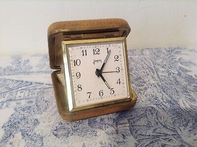 Vintage French Retro Japy Travel Alarm Clock in Case - Working