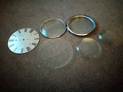 5 VINTAGE CLOCK GLASSES. VARIOUS SIZES.and dial Steel