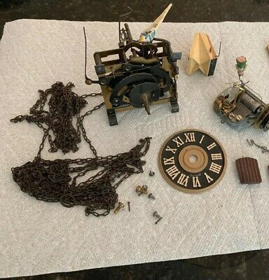 Vintage Cuckoo Clock Germany Lot Parts Music Box Face Chains Gears Bellow Doors