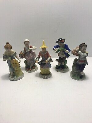 Lot Of 5 Antique Sitzendorf Dresden German Porcelain Figurines