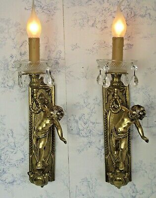 Pair of Large French Antique Cherub Brass Glass & Crystal Wall Light Sconce 1549