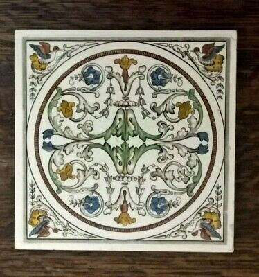 Classical hand coloured Minton Hollins tile with birds to the corners 1887