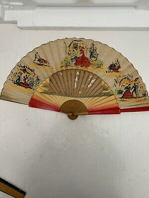 Hand painted Chinese wooden ribbon Vintage delicate collectable Dancing Fan
