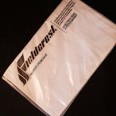 Vintage FIELDCREST Twin Fitted Sheet No Iron Percale White New Old Stock 180