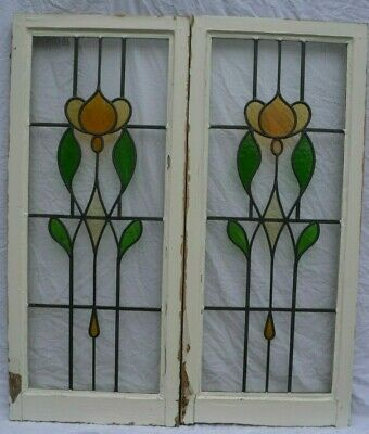 TW0 leaded light stained glass window sashes. R960. NATIONWIDE DELIVERY