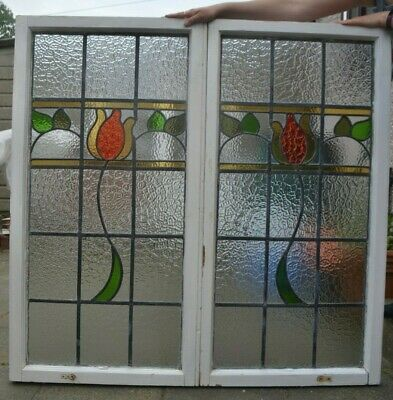 2 leaded light stained glass window sashes. R949b. DELIVERY OPTION.