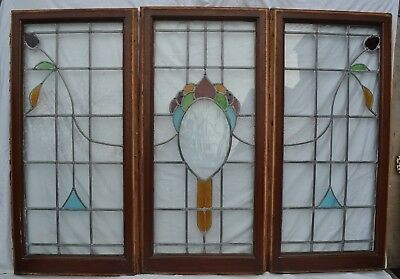 3 joining English leaded light stained glass window sashes. R633a. DELIVERY!!!