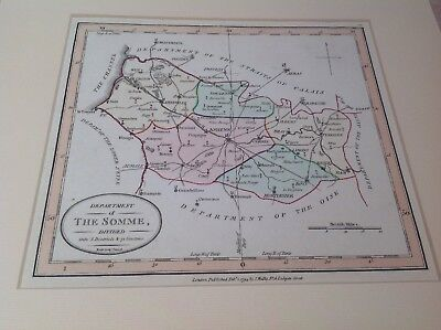 1794 Original Antique Map Somme France By Wallis Hand Coloured mounted