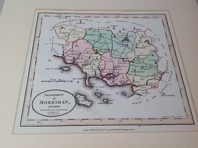 1794 Original Antique Map Morbihan France By Wallis Hand Coloured mounted