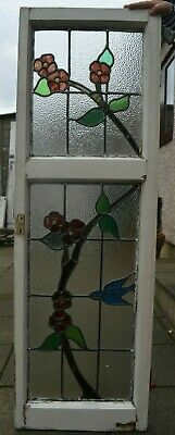 Frame 403mm x 1247mm. Stained glass leaded light window sash. R944f