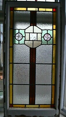 British leaded light stained hammered glass window sash. R895.