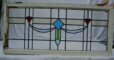 Leaded light stained glass window sash. R771.