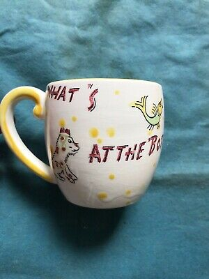 Vintage Childs Cup Mystery Mug Who's At The Bottom Of Well Multicolored Fish