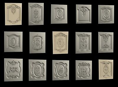3D STL Model # DOORS & CABINETS № 1 # 15 PCS for CNC Aspire Artcam 3d Printer