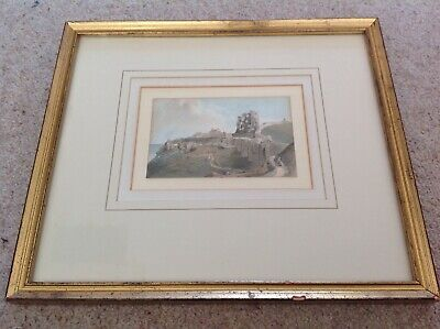 Antique Watercolour painting c1880 19th Century Scarborough Castle Ramage Framed