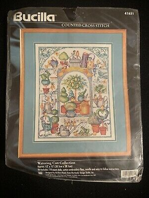 Bucilla Watering Can Collection (Barbara Baatz) Counted Cross Stitch Kit 1997