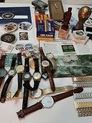 ANTIQUE & VINTAGE JUNK DRAWER MIXED LOT GOOD VARIETY coins watches white house