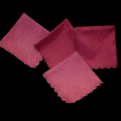Set of 4 scalloped edge pink napkins with woven texture 40cm square.