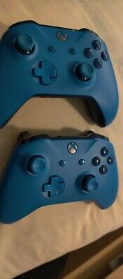 Lot of 2 Microsoft Xbox One S X Wireless Controller blue  model 1708 for parts.