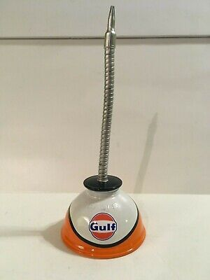 GULF Vintage Thumb Pump OIL CAN Gasoline Station Gas Motor SPIRAL Spout  Chevron