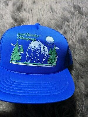 Vintage Great Smoky Mountains Bear Nature Puffy Paint Trucker Hat National Park