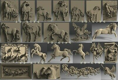 22 Pcs 3D STL Models # HORSES IN MOTION # for CNC Engraver Carving Aspire Artcam