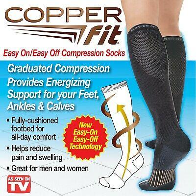 NEW!! Copper Fit Unisex Energy Compression Easy On & Off Socks (2 Pairs, Black)