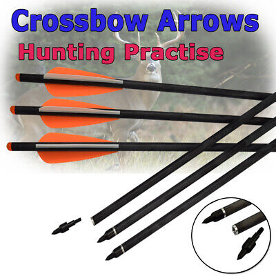 Hunting Archery 6PCS Crossbow Bolts Carbon Arrows 16-22 Inch Target Tips 8.8mm