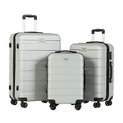 3PCS Luggage Set Travel Bag Trolley Spinner Carry On Suitcase w/ TSA Lock Silver