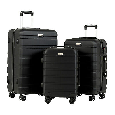 3 Pcs ABS Trolley Carry On Travel Luggage Set Bag Spinner Suitcase w/Lock Black