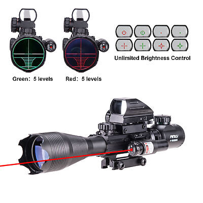 Pinty 4-16x50 Illuminated Range Finder 4 Reticle Dot Sight Red laser Rifle Scope