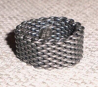 Vintage Authentic Mesh Ring Sterling Silver 925 TIFFANY & Co Signed 473w