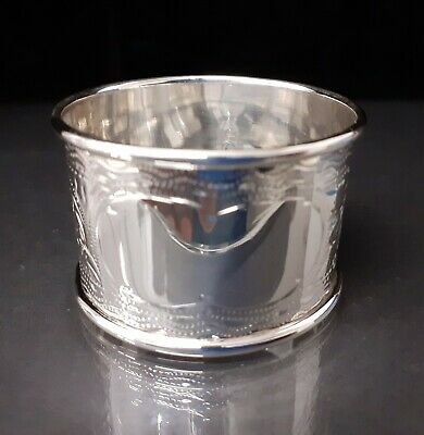 Beautiful Solid Silver Victorian Napkin Ring Mint Condition Christening Gift